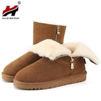 2017 New Arrival 100% Real Fur Classic  Waterproof  Leather Snow Boots Winter Shoes for Women