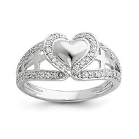 Sterling Silver CZ Pure Heart and Cross Ring
