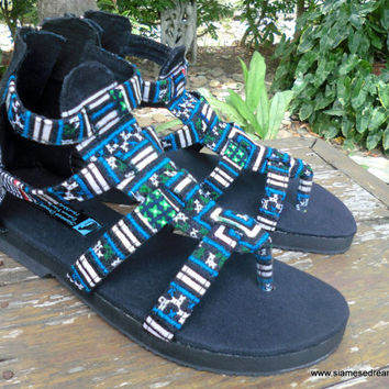 Boho Womens Sandals In Teal And Green Hmong Embroidery Vegan Summer Shoes Isadora Gladiator
