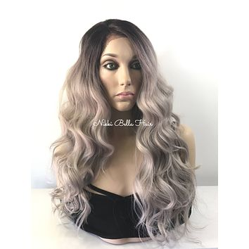 """Cool Icy Ashy Blonde Balayage Human Hair Blend Multi Parting Ombré 4x4 SILK BASE Lace front wig 24"""" 5172"""