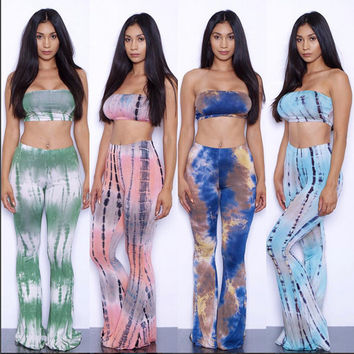 19 Colors Tie Dye Flare Pants Women Tracksuits American Hot Sale Wide Leg Pants + Sexy Bra Crop Tops Women Pants 2 Piece Set 2XL