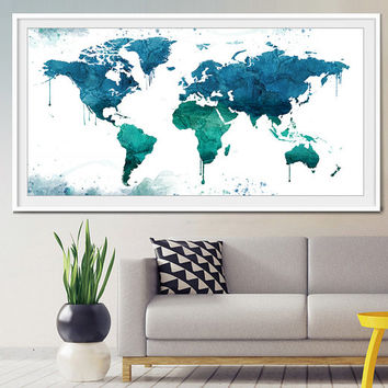 World map watercolor print, world map poster, travel map, Large world map, World map print, watercolor print, watercolor poster-x191