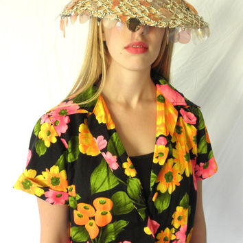 1970s Neon Hawaiian Flower Power Women Cotton Blouse Short Sleeve // Day Glow// Size Large Orange HOT Pink Black Jackpot Jen Vintage