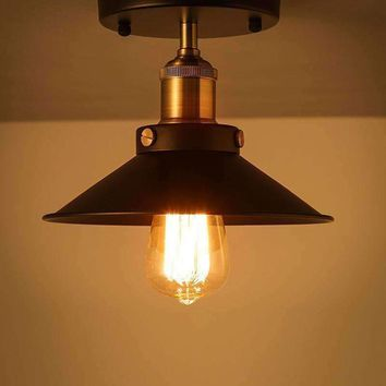 E27 Loft Vintage Ceiling Lamp Round Retro Light Industrial Design Edison Bulb Antique Lampshade Ambilight Lighting Fixture