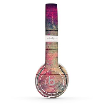 The Pink & Blue Grunge Wood Planks Skin Set for the Beats by Dre Solo 2 Wireless Headphones