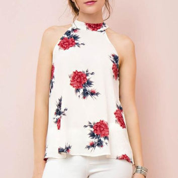 Fashion Flower Print Sleeveless Frills Chiffon Shirt Women's Tops