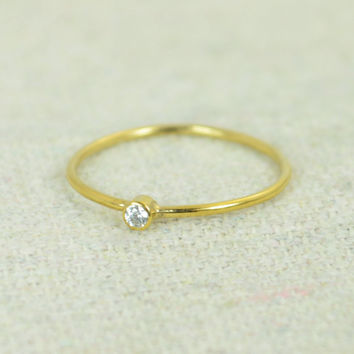 Tiny Gold Filled Diamond Ring