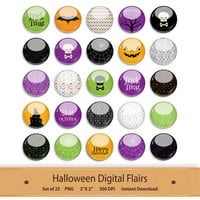 Halloween Clipart Stickers Flairs Buttons Printable PDF Collage Sheet Planner Embellishments Bottle Cap Images Digital Scrapbook Clip Art