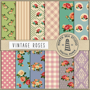 BUY5FOR8 Vintage Roses Digital Paper Shabby Chic Papers Digital Collage Sheets Rose Flower Shabby Background Floral Paper