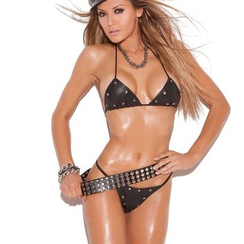 d20fa35f2f1 2 piece set Leather studded bra and g-string  Available Boxed