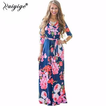 2018 Summer Dress Sexy Deep V Neck Beach Casual Tunic Femme Vestidos Half Sleeve Boho Floral Printed Women Long Maxi Dresses