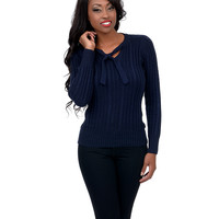 Navy Long Sleeve Cable Knit Sweater