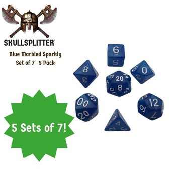 Blue Marbled Glitter - 5 Packs of 7 Polyhedral Dice (7 Die in Set) | Role Playing Game Dice