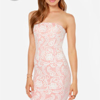 LULUS Exclusive First Love Peach and Ivory Strapless Lace Dress
