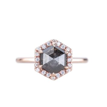 Black Hexagon Diamond Halo Ring