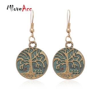 Bohemian Ancient Ethnic Vintage Antique Bronze Drop Earrings Gipsy Punk Life Tree Tag Dangle Earrings