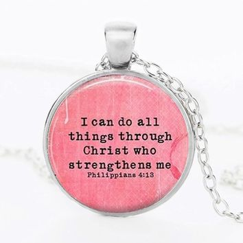 'I can do all things through Christ' Glass Pendant Print Picture
