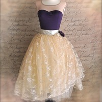 Golden cream lace tulle skirt for women. Weddings, special occasion lined tutu skirt.