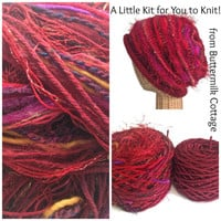 Knit Red Slouchy Hat Kit Yarn Pattern