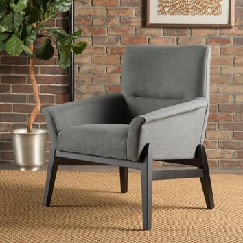 Leona Modern Charcoal Fabric Club Chair
