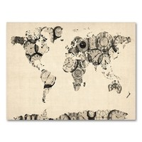 22'' x 32'' ''Old Clocks World Map'' Canvas Wall Art by Michael Tompsett (Beige/Khaki)