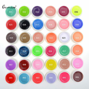 Top Quality Nail Gel 36 Pure Colors Pots Bling Cover UV Gel Nail Art Tips Extension Manicure for Girls Nail Polish Finger Ink