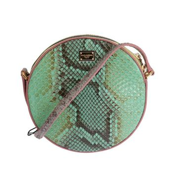 Dolce & Gabbana Green Pink GLAM Snakeskin Shoulder Clutch Bag