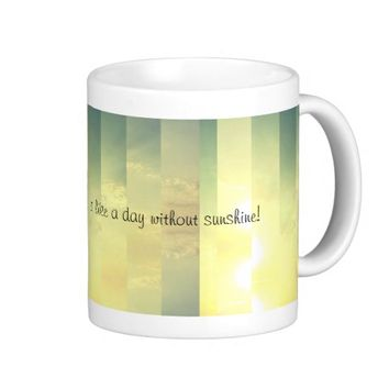 Pastel Yellow Paneled Sunny Sky with Text Classic White Coffee Mug