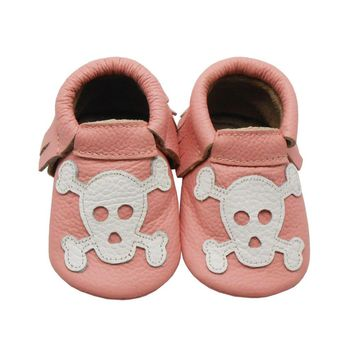 Hot! 2016 Sayoyo Genuine Leather Baby Moccasins Tassel Orange Skull Baby Shoes Boy Sof