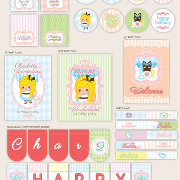 Alice in Wonderland - CUSTOM Party Décor Suite - Printable Supplies by Paperholic