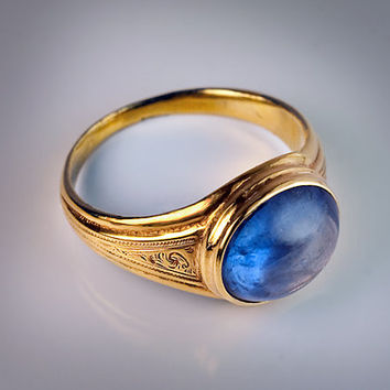 1800s Antique Cabochon Blue Sapphire Gold Ring in Medieval Style - Victorian Jewelry