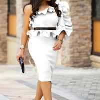 White Ruffle Asymmetric Shoulder Peplum High Waisted Bodycon Falbala Church Elegant Midi Dress
