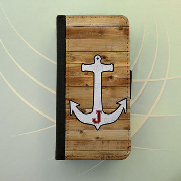 Personalized iPhone 4 iPhone 5 case Samsung Galaxy S3 S4 wallet case, iPhone wallet, book style, Samsung iPhone 5 flip case - Anchor