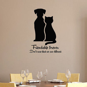 Wall Decal Dog Cat Decals Friendship Forever Grooming Salon Pet Shop Decor DS3