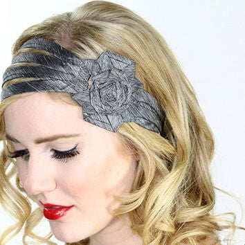Grey hair band, silk flower headbands, silver flower hair accessories, hair flowers