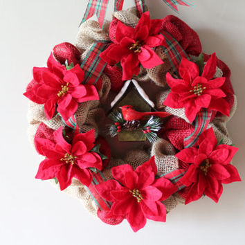 Christmas Wreath, Burlap Christmas Wreath with Poinsettias and Bird House, Holiday Wreath, Christmas Decor