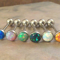 Light Pink Fire Opal Tongue Barbell Piercing