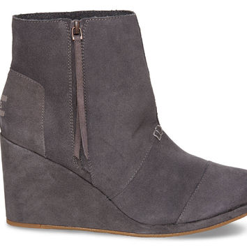 TOMS Desert Wedge High Women Dark Grey Suede