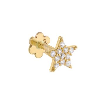 Pavé Star Threaded Stud Earring 14K