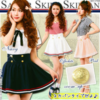 Marine coordination♪With inner pants attached◎Color combination sailor pantskirt◆6/2 ships planned