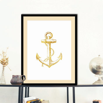 Anchor Gold Faux Foil Poster Print Wall Art Nautical Decor Housewares Instant  Download
