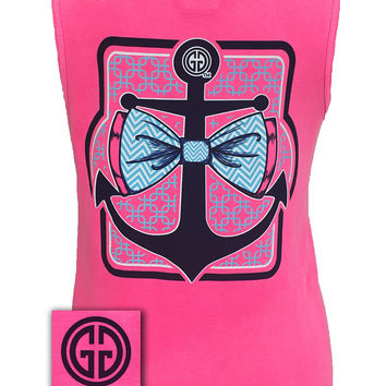 Girlie Girl Originals Collection Anchor Bow Logo Bright Comfort Colors Pink Tank Top Shirt