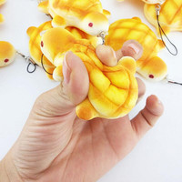 1PC Charms Kawaii Bread Scented Key Chain Cute PU Tortoise Squishy Tortoise Squishy Bag Cell Phone Straps 7*6.5CM