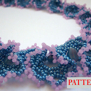 Beading PATTERN Beaded necklace beadweaving tutorial beadwork instructions patterns PDF Instant Download Instruction Scheme Beadwoven