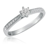 10K White Gold Diamond Starburst Promise Ring (Available Sizes 5 to 7)