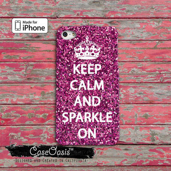 Keep Calm And Sparkle On Pink Glitter Cute For iPhone 4 and 4s Case iPhone 5 and 5s and 5c Case And Wallet Style and iPhone 6 and 6 Plus
