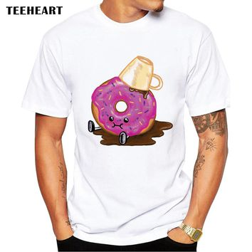 TEEHEART Men's Funny Donuts and Coffee Print T-Shirt  Men Summer Modal Hipster Tees la258