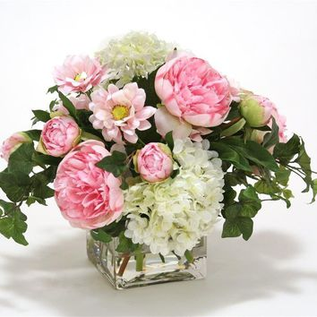 Waterlook ® White Hydrangea , Pink Peonies and Daisy In Square Glass Vase