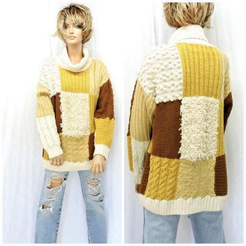 80s chunky sweater / size M / cable knit turtle neck sweater / hand knit sweater / 1980s cream brown textured pullover sweater