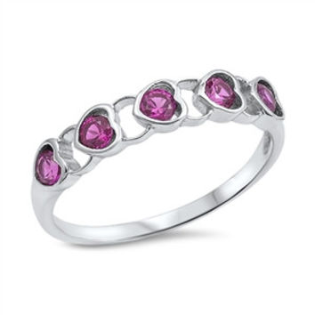 925 Sterling Silver CZ Simulated Diamond and Simulated Ruby Heart Rows Bezel Designer Ring 5MM